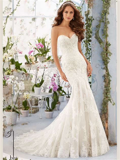 Wedding Dresses Mori by Mori 5413 Sweetheart Lace Floor Length Bridal Gown