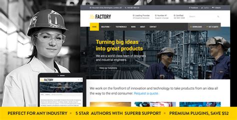 themeforest industrial factory industrial business wordpress theme by