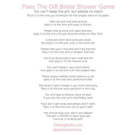 Baby Shower Pass The Gift Poem by Pass The Gift Bridal Shower Free Printable Http