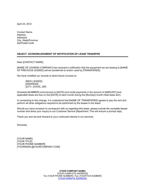 Transfer Equipment Letter Acknowledgment Of Notification Of Lease Transfer Template Sle Form Biztree
