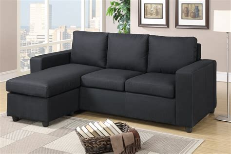 Sectional Furniture by Poundex Akeneo F7490 Black Fabric Sectional Sofa A