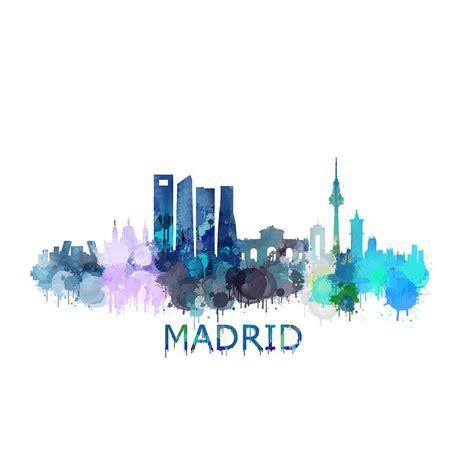 madrid city skyline hq v2 drawing by hq photo
