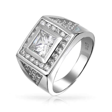 Square Princess Cut CZ Pave Triangles Mens Engagament Ring Silver