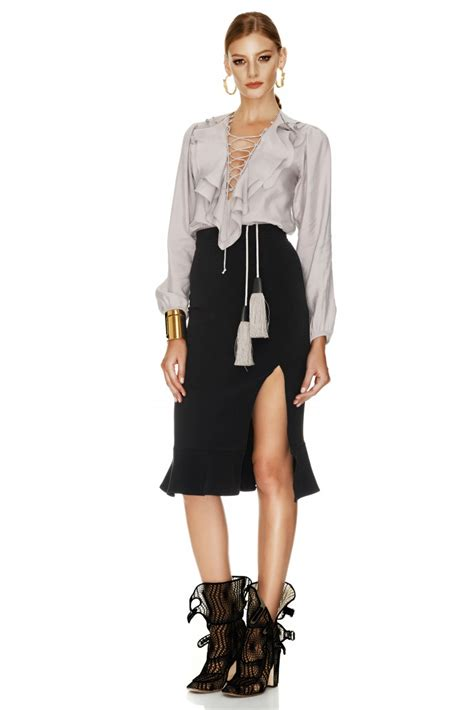 black jersey midi skirt pnk casual