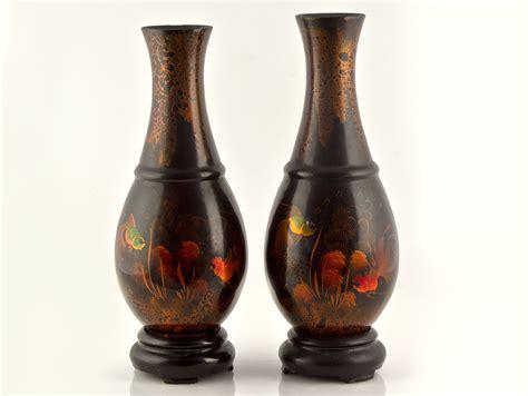 Papier Mache Vases by Pair Of C1900 Lacquered Papier Mache Vases Ebay