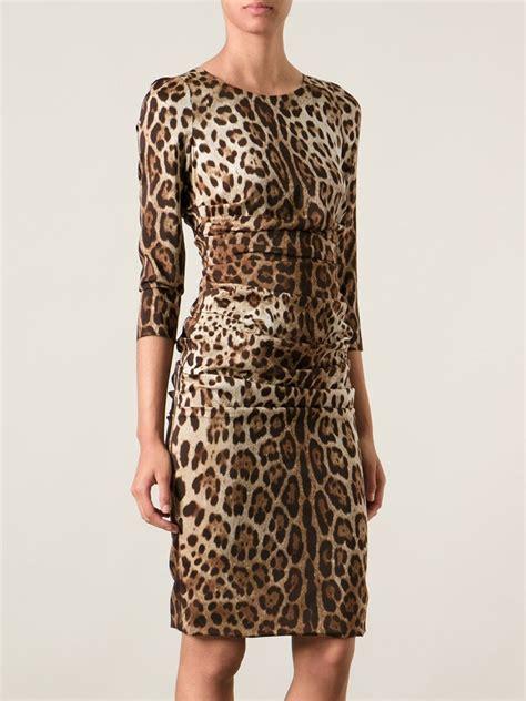 dolce gabbana leopard print dress in brown lyst
