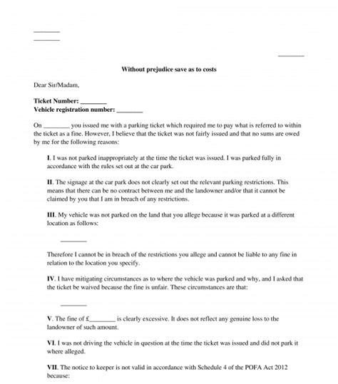 private parking fine appeal letter sample template
