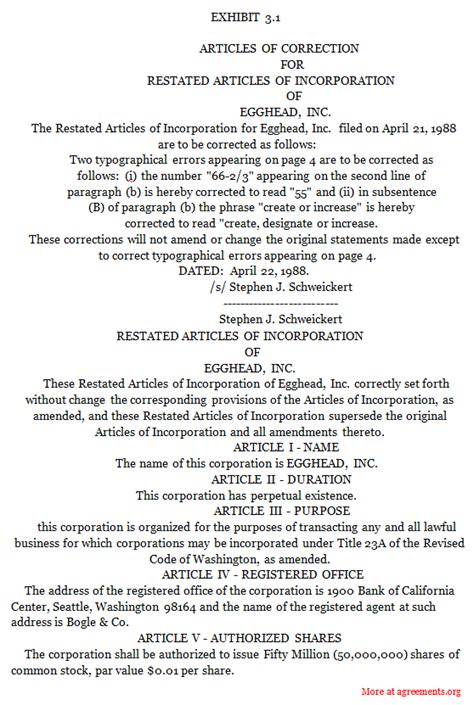 Restated Articles Of Incorporation Agreements Sle Restated Articles Of Incorporation Agreements Articles Of Amendment Template