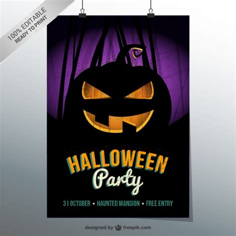 halloween party flyer template vector free download