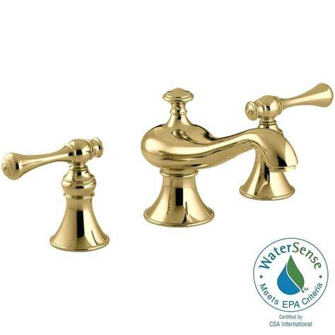 shop kohler revival vibrant polished brass 2 handle high kohler revival 8 in widespread 2 handle low arc water