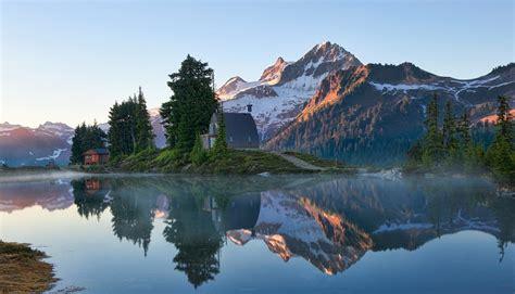 lake mountain reflection sunrise canada snowy peak