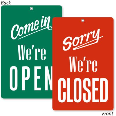 open closed sign template 2 sided come in we are open sorry closed be back sign