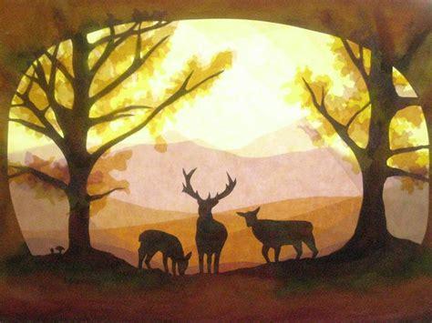fensterbilder herbst fensterbilder hirsche im herbst wald waldorf crafts