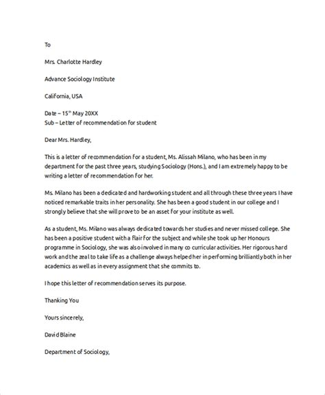 Recommendation Letter Of Student Letter Of Recommendation Exle 8 Sles In Pdf Word