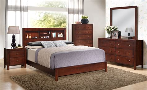 bookcase bedroom furniture glory furniture g2400 5 piece bookcase headboard bedroom set in cherry full