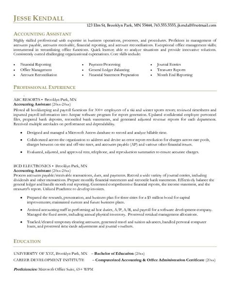 Resume Objective Exles Accounting Assistant Exle Accounting Assistant Resume Free Sle