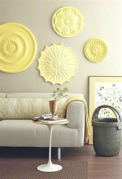 pale yellow decorating a bright happy living room