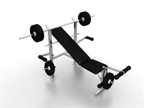 free weights and bench set weight bench sets 3d model 3ds max files free download modeling 26796 on cadnav
