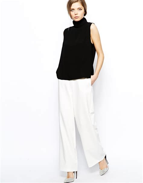 Black Sleeveless High Neck Blouse by Lyst Asos High Neck Sleeveless Top In Orange