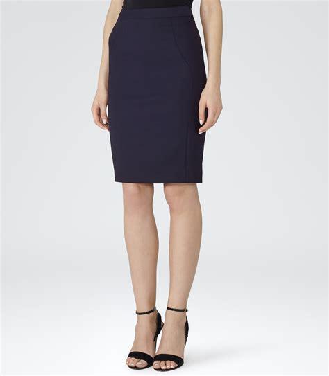 seville skirt navy tailored pencil skirt reiss