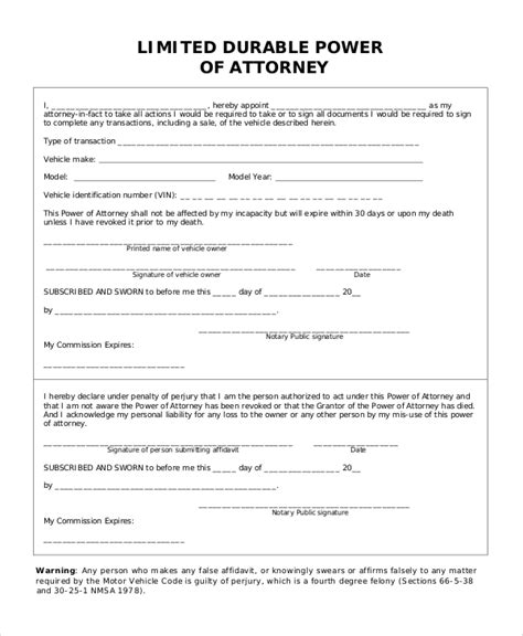 durable power of attorney template free sle limited power of attorney form 10 exles in