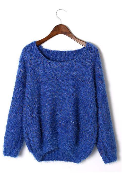 Sweater Black Blue blue sweater blue fluffy sleeve sweater ustrendy