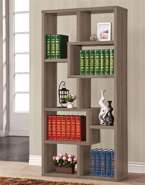 geometric bookcase weathered grey bookcases home