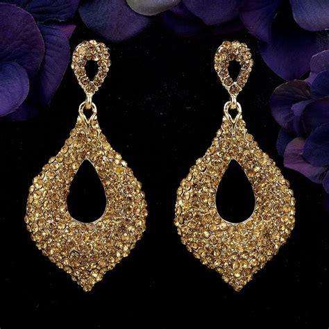 Chandelier Rhinestone Earrings 18k Gold Plated Gp Golden Rhinestone Drop Chandelier Dangle Earrings 015 Ebay