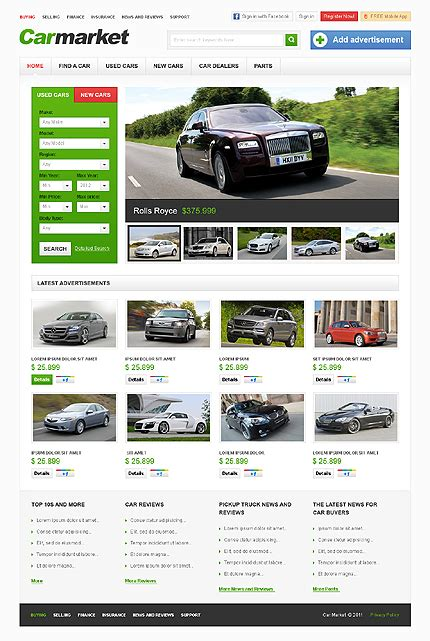 Attention Getting Car Website Templates Entheos Market Website Template