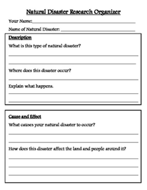 disaster research organizer and brochure template