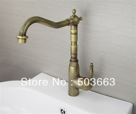 antique kitchen sink faucets single handle antique brass finish kitchen sink swivel faucet mixer taps vanity brass