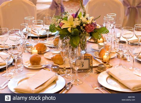 Wedding Table Setup by Formal Wedding Table Setup With Floral Centerpiece