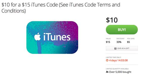 Gift Card Groupon - groupon offering 15 itunes gift cards for 10