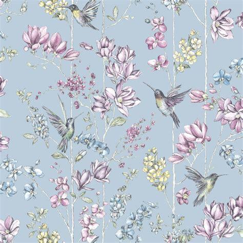 K2 Blue Floral & Hummingbird Glitter Effect Wallpaper