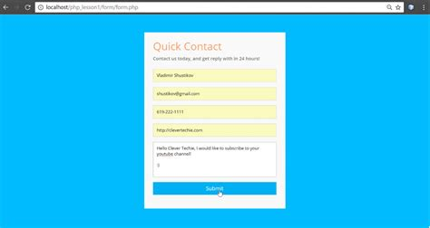 pattern for email validation in php php contact form tutorial with validation and email submit