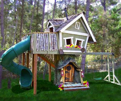 Backyard Treehouse Monkey Mansion Treehouse Eclectic Outdoor Playhouses