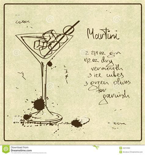 vintage martini illustration martini cocktail stock vector image 46272082