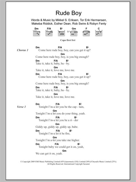 printable rude lyrics rude boy sheet music direct