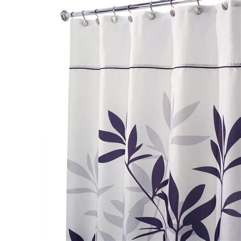 Gray And Black Shower Curtains Interdesign Leaves Stall Size Shower Curtain In Black And Gray 35623 The Home Depot