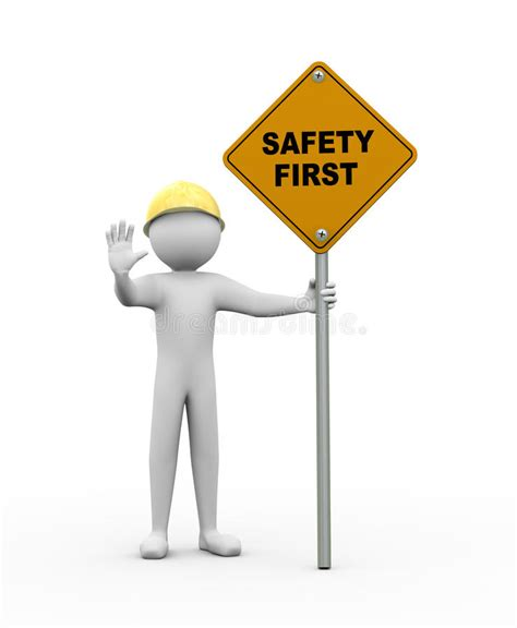 safety first stock image image 35138181 safety man clip art 3d man with safety first road sign