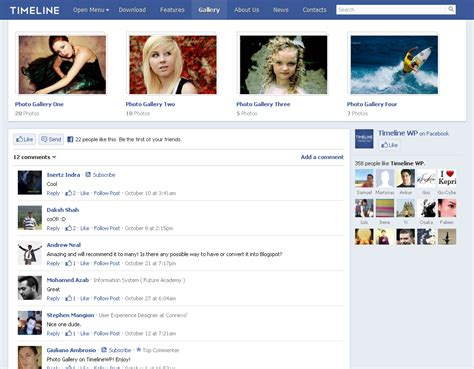 facebook themes website timeline wp a facebook inspired wordpress theme wphub