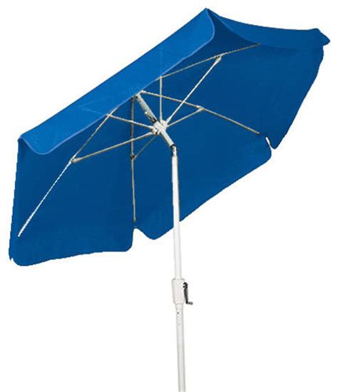 7 5 hexagonal pacific blue garden umbrella with white