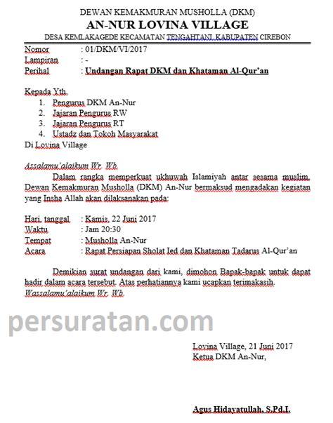 Contoh Kop Surat Undangan by Contoh Surat Undangan Rapat Dkm