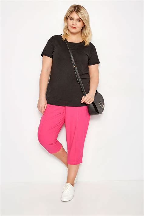 Pot Tawon No 27 plus size fuchsia cotton cropped trousers sizes 16 to 36