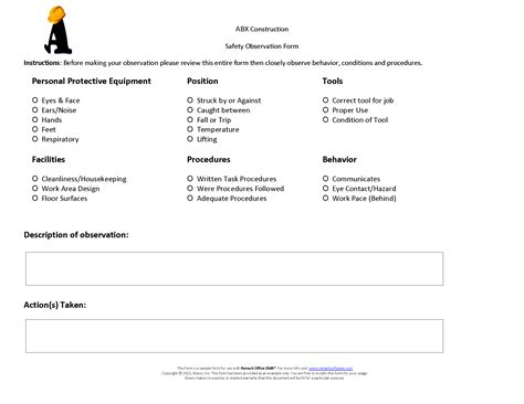 Construction Safety Observation Form 183 Remark Software Construction Observation Report Template