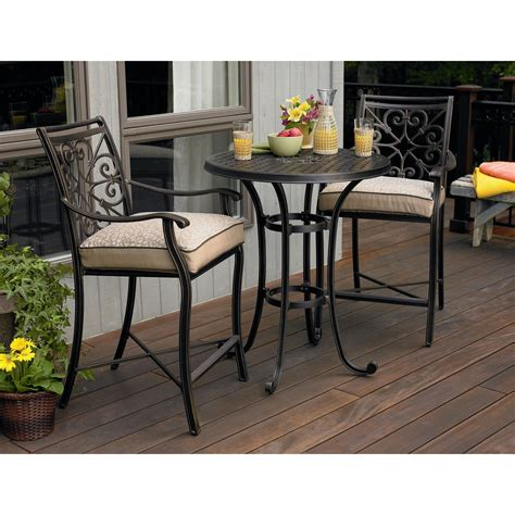 Balcony Height Bistro Table Set Made Of Wrought Iron In Balcony Height Patio Table