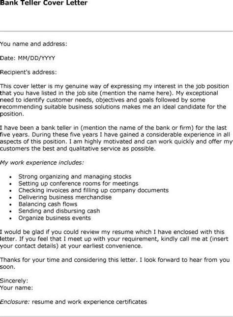 Cover Letter Bank Teller by Cover Letter For Bank Teller Jvwithmenow