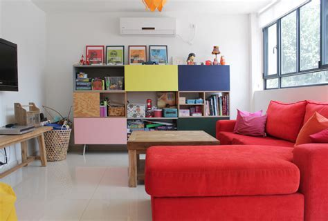 red sectional sofa Kids Eclectic with bookcase bright