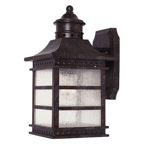 Rustic Outdoor Wall Lights Shop 12 5 In H Rustic Bronze Outdoor Wall Light At Lowes