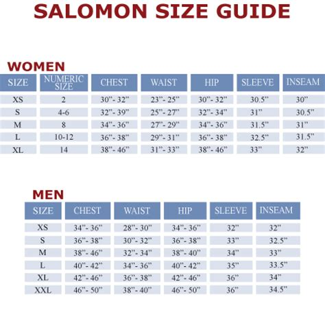 shoe size chart salomon apej9myf uk salomon sizing chart